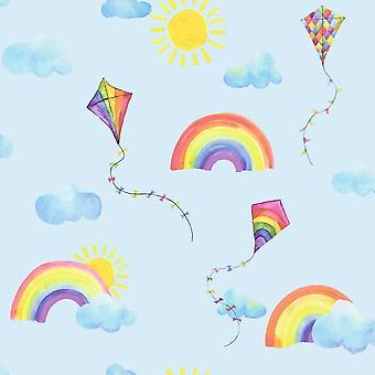 Holden Décor Over the Rainbow Rainbows Flying Kites Blue Wallpaper 91022