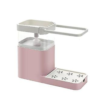 Soap Pump Dispenser With Sponge Holder Cleaning Liquid Dispenser Container Manual Press(Pink)