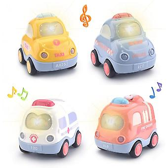 Set Of 4 Pack Kids Early Educational Vehicles (macaron Color)