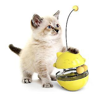 Dual Rolling Balls Cat Tumbler Lelu Kissa Ruoka-annostelija Vuotaa ruokapallo (keltainen)