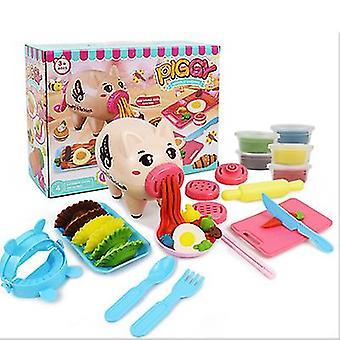 Allinless DIY Cartoon Color Mud Pig Noodle Maker Color Mud Clay Set Play House Vaisselle Jouets pour enfants