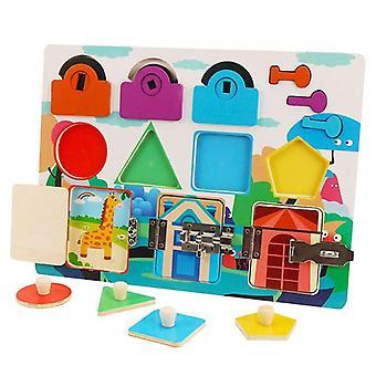 Juguetes Tabla de madera ocupada para niños pequeños Entrenamiento de hebilla Bebé Forma de tabla ocupada para niños 