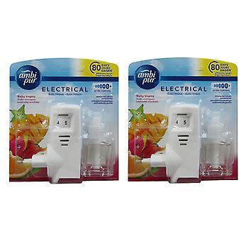 2 x Ambi Pur Electric EU Plug in Starter Kit  - Fruity Tropics