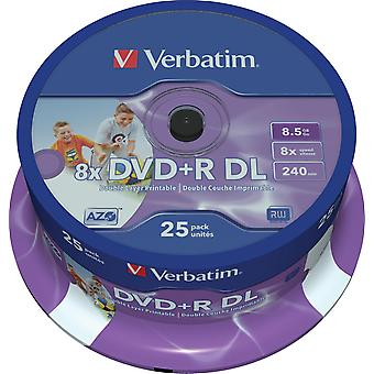 Verbatim DVD+R DL, 8x, 8,5GB/240 min, fuso de 25 pacotes, AZO, imprimível