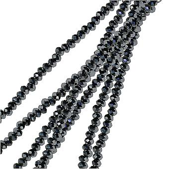 Crystal Beads, Faceted Rondelle 1.5x2.5mm, 2 Strands, Opaque Silver Iris
