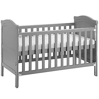 Solid Grey Wood Toddler Bed With Foam Mattress
