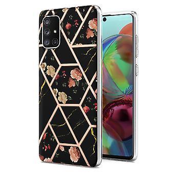 Boîtier Samsung Galaxy A71 5g Marbre Pare-chocs Brillant Design Antichoc Flexible - Noir