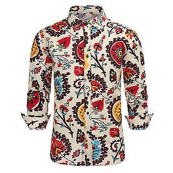 Silktaa Men's Ethnic Printed Linen Long-sleeved Casual Button-down Shirt