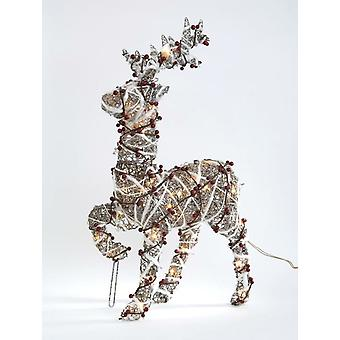 50cm Rattan Standing Reindeer With Plugin Lights Christmas Tree Decoration