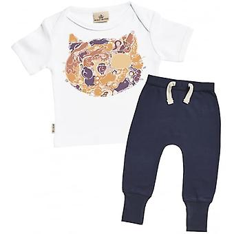 Spoilt Rotten Cat Print Baby T-Shirt & Navy Joggers Outfit Set