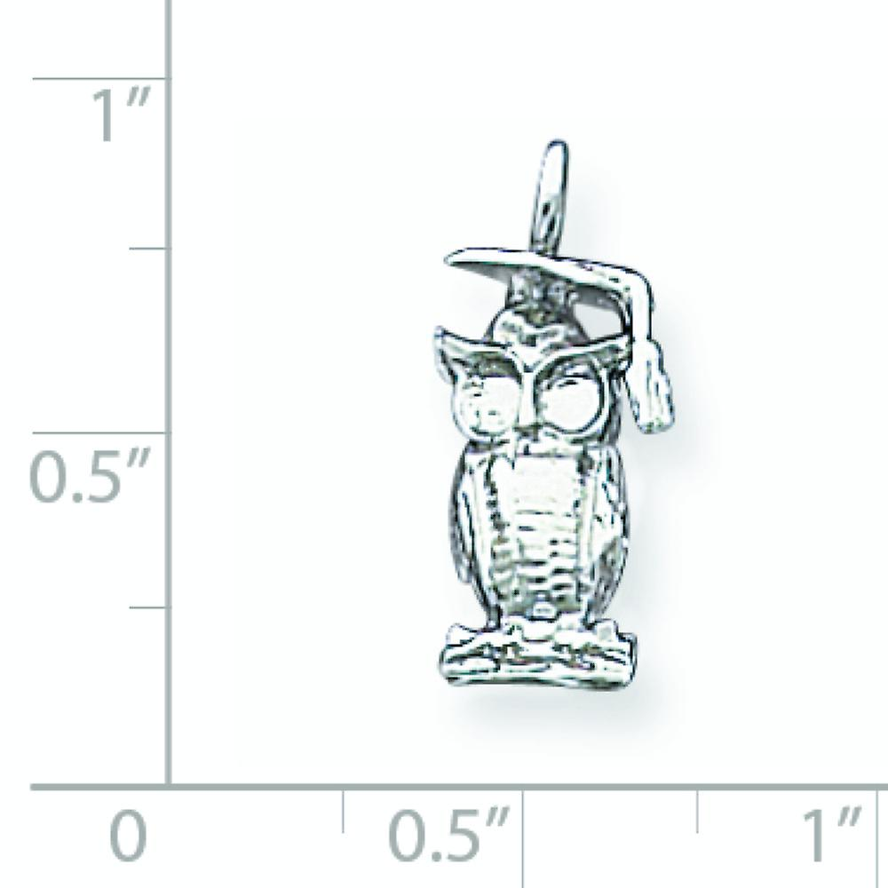 925 Sterling Silver Solid Polished Open back Graduation Owl Charm Pendant Necklace Jewelry Gifts for Women