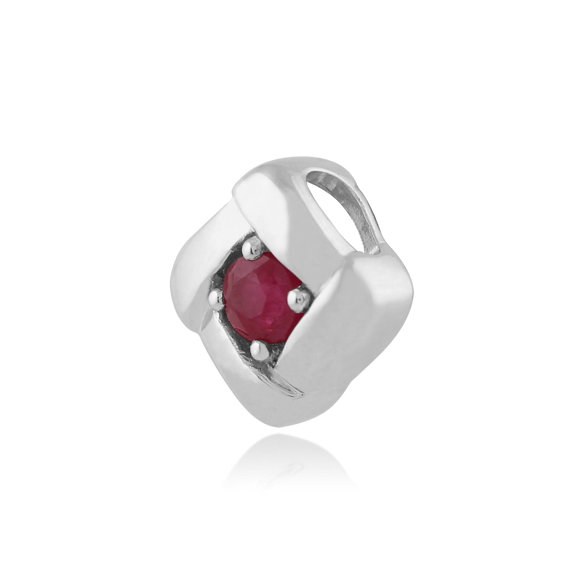 Gemondo 925 Sterling Silver 0.14ct Ruby Square Crossover Pendant on 45cm Chain