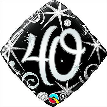 Qualatex 18 pollici Sparkles & a forma di diamante di turbinii età 40 Palloncino foil