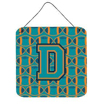 Buchstabe D Fußball Aqua, Orange und Marine blaue Wand oder Tür hängen Drucke