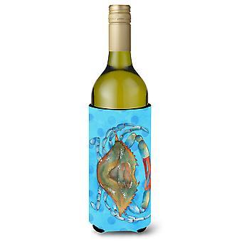 Blue Crab blau Polkadot Wein Flasche Beverge Isolator Hugger