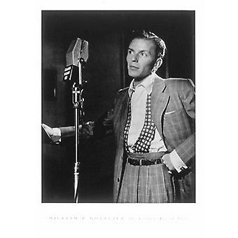 Frank Sinatra (with microphone) Poster Print by William P Gottlieb (18 x 24)