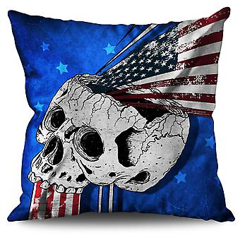 Indian Metal Rock Skull Linen Cushion 30cm x 30cm | Wellcoda