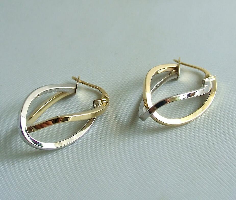 Bicolor gouden oorbellen