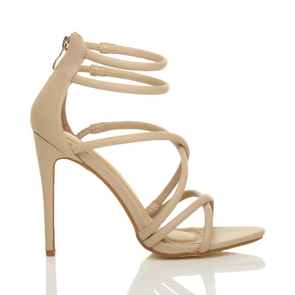 Ajvani womens tacco alto strappy dell'incrocio a malapena ci zip partito a spillo sandali scarpe BK8oVo