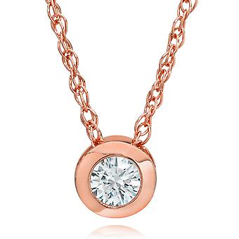 14K Rose Gold 1/4 ct Round Diamond Solitaire Bezel Pendant & 18