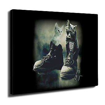 Cat In Shoes Cute Cat Wall Art Canvas 40cm x 30cm | Wellcoda