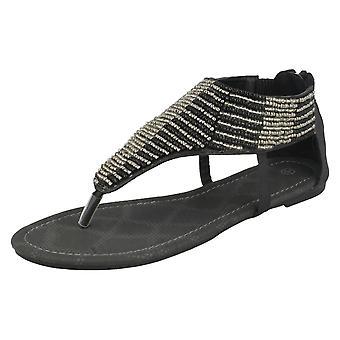 Ladies Savannah Flat Toe Post Sandals with Beaded Trim 'L6747'