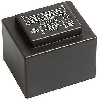 Gerth PT303602 PCB mount transformer 1 x 230 V 2 x 18 V AC 1.80 VA 50 mA