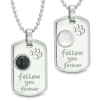 Følge dig for evigt energi amuletter ulv pote simulerede Onyx hvid Cats Eye Yin Yang par halskæder