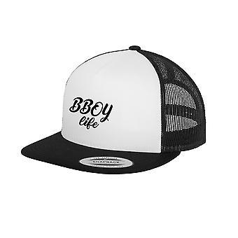 HIPHOP73 B Boy Life Trucker Snapback Black White