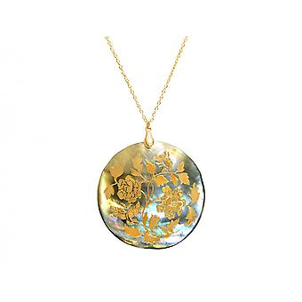 Gemshine womens necklace pendant locket mother-of-pearl gold plated grey 5 cm