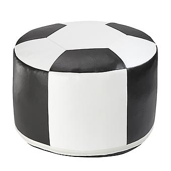 Football cushion synthetic leather white / black Ø 50/34 cm