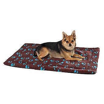 Slumber Pet ThermaPet Soft Plush Fabric Paw Print Crate Mat Bed Brown