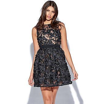 Zwarte Mini Floral stoffen Prom jurk