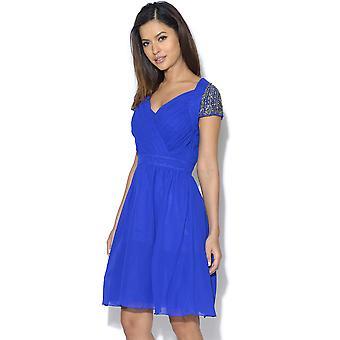 Little Mistress Blue Exposed Back Embellished Prom Dress