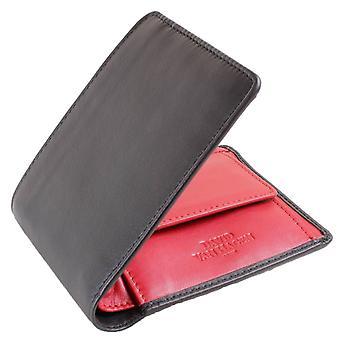 David Van Hagen Contrast 4 Card Coin Bifold Wallet - Black/Red