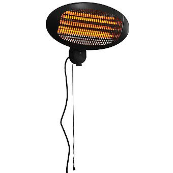 Outsunny 2kw Wall Mounted Infrared Electric Patio Heater Garden Outdoor Indoor Heating Warmer Waterproof 3 Power Settings Tilt Angle
