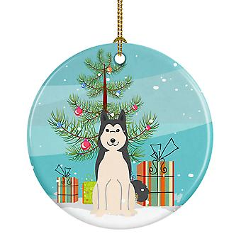 Merry Christmas Tree West Siberian Laika Spitz Ceramic Ornament