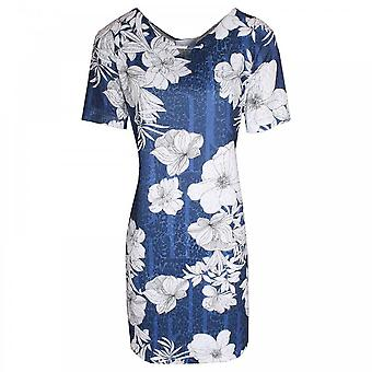 Just White Bold Floral Print Short Sleeve Dress