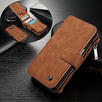 CASEME Samsung Galaxy S7 Retro cartera de cuero Caso-marrón