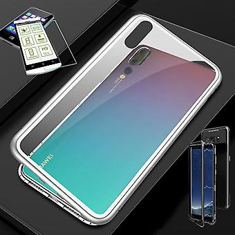 For Huawei P smart 2019 / honor 10 Lite magnet / metal / glass pouch case white / silver / transparent + 0.26 mm H9 hard glass
