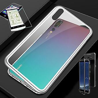 Für Huawei P Smart 2019 / Honor 10 Lite Magnet / Metall / Glas Tasche Case Weiß / Silber / Transparent + 0,26 mm H9 Hart Glas