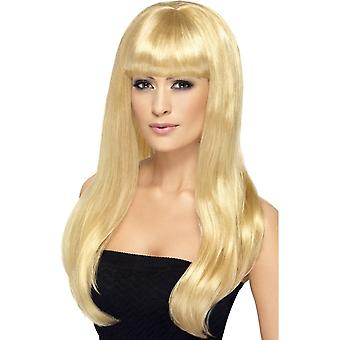 Long Blonde Wavy Wig, Babelicious Wig With Fringe, Fancy Dress Accessory