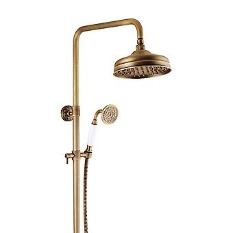 Antique Brass Retro Brushed Bath Shower Mixer Tap Panel Wall Mounted Rainfall