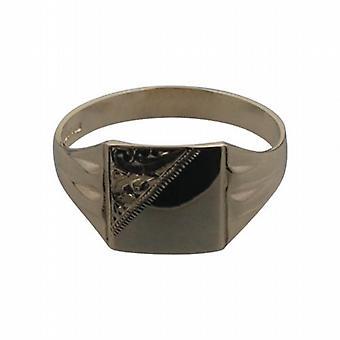 9ct الذهب 11x11mm السادة محفورة مربع Signet خاتم الحجم العاشر