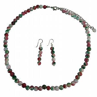 Symulować fantazyjne Agat koraliki naszyjnik / srebro Kolczyki ręcznie biżuterię