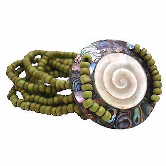 Shiva Eye Round Shell w/ 7 Stranded Olivine Beads Stretchable Bracelet