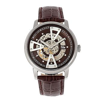 Reign Belfour Automatic Skeleton Leather-Band Watch - Silver/Brown