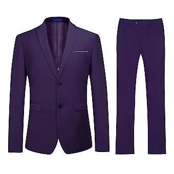 Allthemen mænds lilla Slim Fit Business Casual 3-Piece Suit