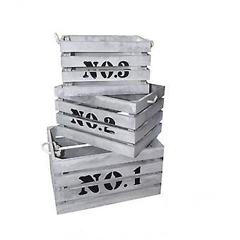 Möbel Rebecca Set 3 Boxen weiß Holz Schäbige Vintage 22x41x30