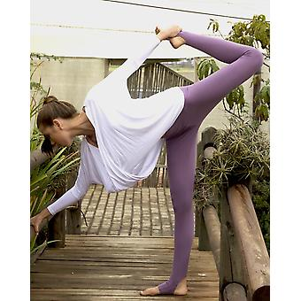 Aubergine Cotton Rich Open Heel Yoga Leggings